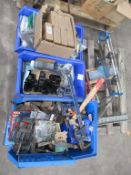Pallet to contain Various Hand Tools, Bolts, Spare Parts etc.