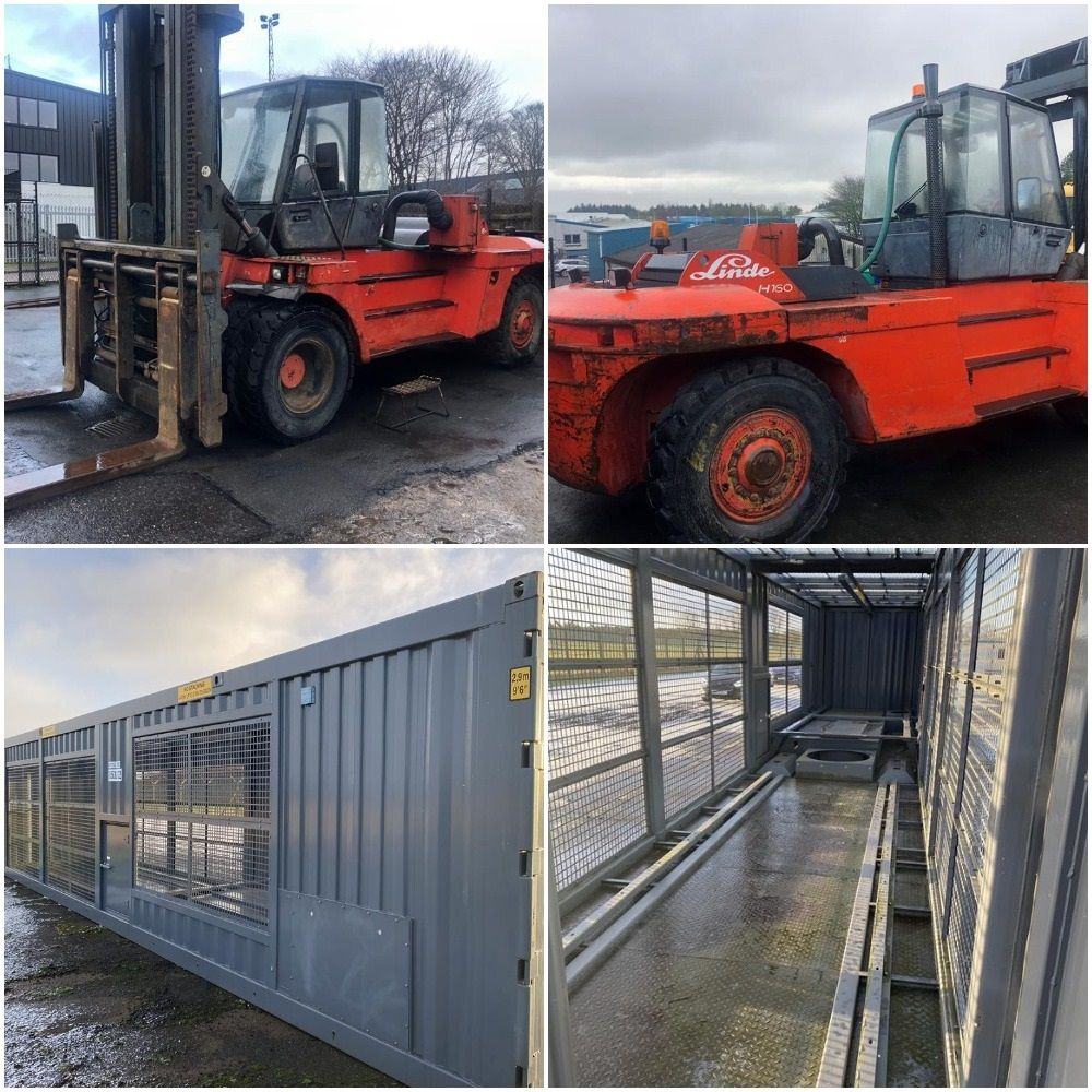 16 Tonne Forklift and 9 Unused 40FT Container Frames for Chiller Units
