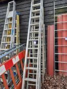 Aluminium Twin Extension Ladder and 4 Various Ladders