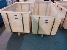 2 Steel Framed Polypropylene Laundry Trolleys 700mm (w) x 1,250mm (l) x 800mm (h)