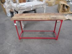 Industrial console table in red
