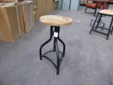 2 x Wooden top adjustable low stool