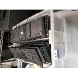 Large quantity of PC keyboards to plastic crate