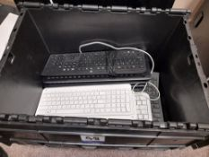 12 x Various PC keyboards, to plastic crate