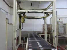 Pallet Wrapping Station including 2003 SIAT Model 2201 Pallet Wrapper, 2x Pallet Turners and Outfeed