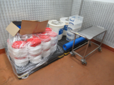 2 x Pallets to contain qty of Various Empty Drums, Plastic Storage Boxes and s/s Trolley