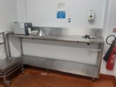 High level s/s Prep Table with Sink, s/s Prep Table and 1-bay Boltless Shelving