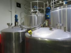 2 x Stainless Steel Tanks (No 8 & another) with Top Agitators Disconnected