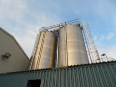 Silo 6 Moeschle 59,500 Litre Stainless Steel Tank with Load Cells and Valves