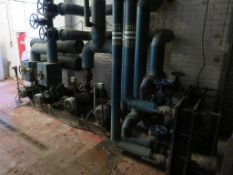 Chilled Water Distribution System Inc. 4x Pumps, 11x Valves, 2x Heat Exchangers and Connected Pipewo