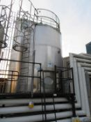 Silo 5- C 22,500 Litre 1985 Valie ORG Juice Stainless Steel Silo, Jacketed with Top Agitation and 5