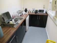 Content of the small kitchen to include Hotpoint Fridge, Beko Dishwasher, Beko Microwave, Russell Ho