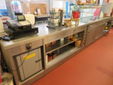 Stainless Servery Counter including Hotplates and Heated Cupboard with Tray Slide