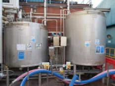 Sinclair Stainless Twin Tank CIP Plant with Valves, Pumps and Heat Exchanges