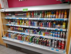 Large quantity of assorted soft drinks stock (cans and bottles) to 2 x refrigerators, and 3 x bays