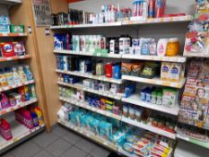 Assortment of healthcare and baby stock to 2 x bays of shop racking, to include deodorants, hair