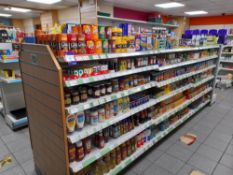 Contents to double sided shop display to include various tinned / packet foods (soup, tuna, beats