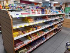 Contents to double sided shop display to include assortment of biscuits, tea bags, coffee, cakes,