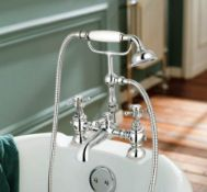 New & Boxed Victoria II Bath Shower Mixer - Traditional Tap With Hand Held. Tb35.Chrome Plated Solid
