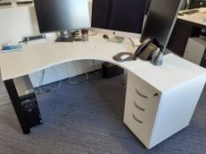 White Melamine Workstation with Matching Pedestal (require dismantling)