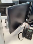 2 Ergotron Neo-Flex Desk Mount Monitor Brackets with 2 x Samsung Syncmaster B1940 Computer Monitors
