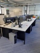 Bank of Six White Melamine Modular Desks (require dismantling)
