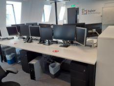 Bank of Four White Melamine Modular Desks (require dismantling)