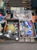 Pallet of assorted electrical items and machine tooling.