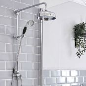 New & Boxed Chrome with Black Accents - Traditional Thermostatic Exposed Mixer Shower Set. Sp6815B.