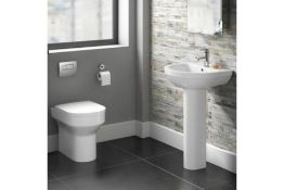 New & Boxed Cesar Back To Wall Toilet Inc Soft Close Seat. 621Bwp Made From White Vitreous China And