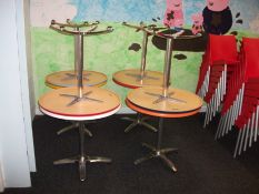 4 x Various Chromed Based Circular Bistro Tables