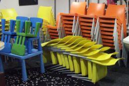 Quantity of Various Plastic Chairs, Orange & Yello