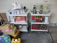 2 x Mobile 3 Tier Trolleys & Contents