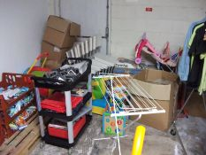Contents to Store Room including Chairs, Clothes,