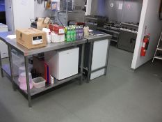 3 Various Stainless Steel Prep Tables & Contents