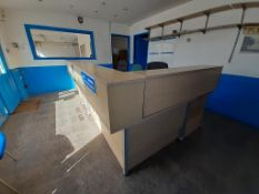2x L Shaped Reception Desks with 3 x Mobile Office Chairs and Qty of Shelving