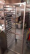 Stainless steel 20 shelf tray trolley