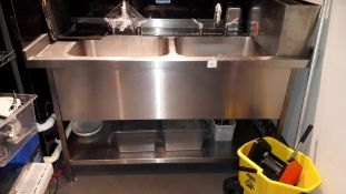 Stainless steel double deep Sink with grease shield GS1850 grease trap, serial number 208492 (2017)