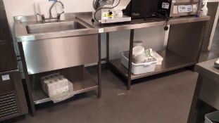 Stainless steel Table Section, 2500x 800mm fitted Deep Sink