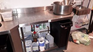 Stainless steel shaped Food Preparation Table, 1150mm
