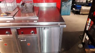 Charvet stainless steel 3 phase electric Deep Fat Fryer with work surface section, 425mm x 806mm.