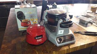 Waring WW200K double Belgian waffle maker and Smart SWB7000 waffle bowl maker