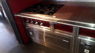Charvet stainless steel four burner Range with work surface section, 425mm x 806mm and Adande single
