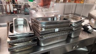Quantity of stainless steel Gastronorm Trays