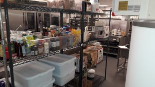 Two steel wire adjustable Shelving Units with contents of food stuffs