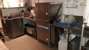 Meiko DV80.2 stainless steel Dishwasher with shaped feed table, fitted pot wash, shelving unit, take
