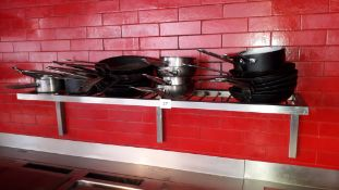 Stainless steel wall mount Draining Shelf and contents of various pots & pans