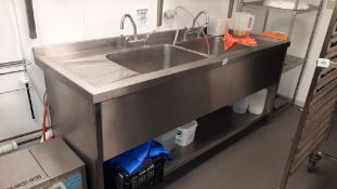 Stainless steel Double Deep Sink, 2000 x 700mm with grease shield G81850 grease trap, serial