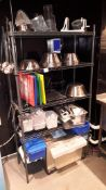 Two Wire Shelving Units, with contents of , stainless steel mixing bowls, utensils etc