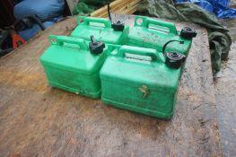 4 x Unleaded plastic Petrol Cans